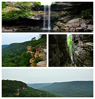 South Cumberland State Park - South Cumberland State Park points of interest. Clockwise: Greeter Falls, the trail down Stone Door, Laurel Gulf Overlook, Stone Door Scenic Overlook.
