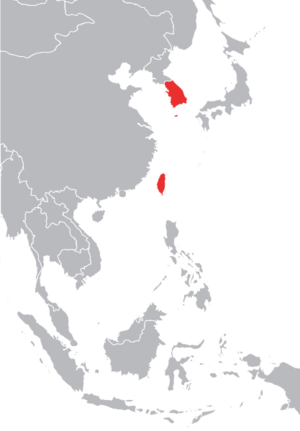 Taiwanese Wave - The Four Asian Tigers, including South Korea and Taiwan (in red)