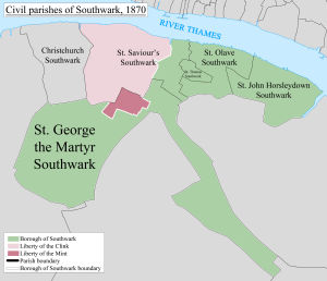 Southwark St John Horsleydown - Image: Southwark Civil Parish Map 1870