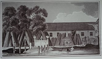 Steelyard - A reproduced painting of the Steelyard (Souvenir of the British Exhibit in the Hall of Nations IPA Leipzig, 1930)