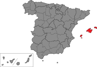 Balearic Islands (Congress of Deputies constituency) - Location of Balearic Islands within Spain