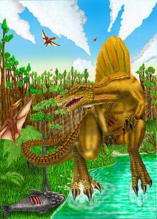 Spinosaurus se alimentando de um peixe na beira de um rio.