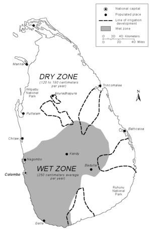 2010 Colombo floods - Image: Sri Lanka Precipitation and Irrigation map