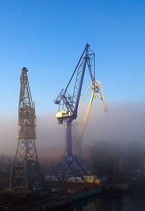 Dock (maritime) - Docks in St. Petersburg, Russia.