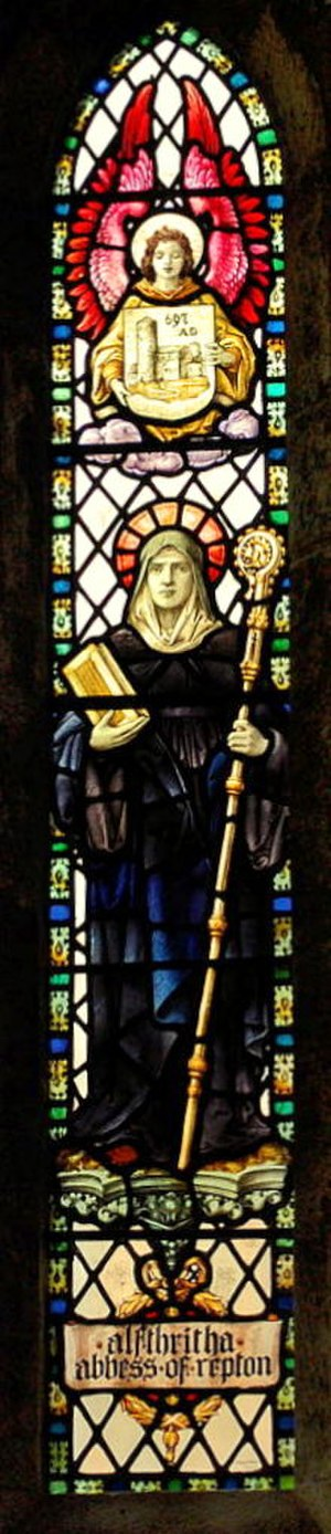 Repton Abbey - Stained glass window depicting St Alfthritha, former Abbess of Repton