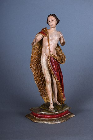Woodcarved polychrome figure representing Saint John Baptist from Val Gardena, 18th century
