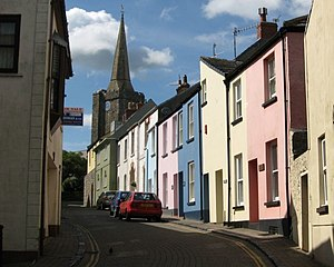 Tenby - St Mary's Street, a typical old town street in Tenby
