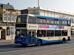 Preston Bus - East Lancs Lolyne bodied Dennis Trident 2 in Blackpool in April 2009 in Preston Bus livery with Stagecoach signwriting