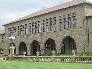 Statue of Johannes Gutenberg (Stanford University) sculpture at Wallenberg Hall, Stanford, California