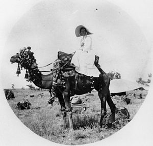 Women in the Victorian era - Camels were imported to Australia during the Victorian era; even then, women were expected to ride sidesaddle (Queensland, 1880).