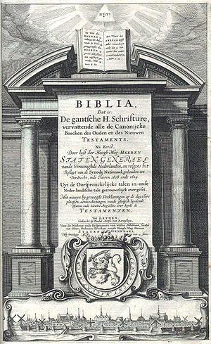 Statenvertaling - Title page of the original 1637 Statenvertaling.