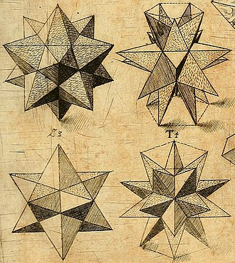 Kepler–Poinsot polyhedron - Stellated dodecahedra, Harmonices Mundi by Johannes Kepler (1619)