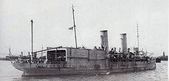 HMS Ben-my-Chree - Stern view of HMS Ben-my-Chree, showing the aircraft hangars