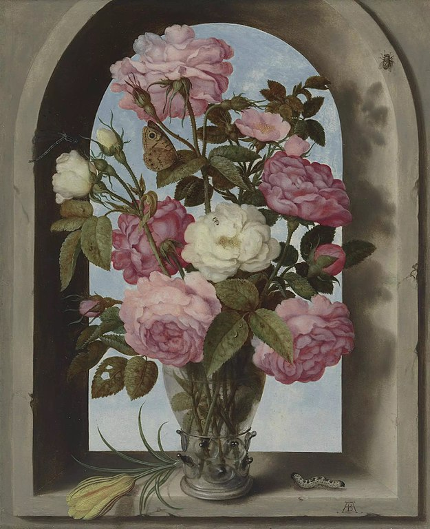 Filestill Life With Roses In A Glass Vase Ambrosius Bosschaert The