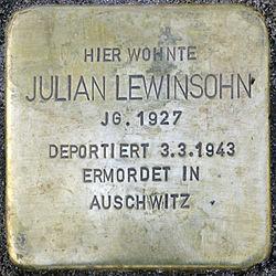 Photo of Julian Lewinsohn brass plaque