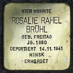 Photo of Rosalie Rahel Brühl brass plaque