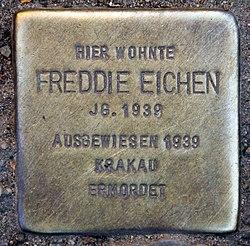 Photo of Freddie Eichen brass plaque