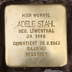 Photo of Adele Stahl brass plaque