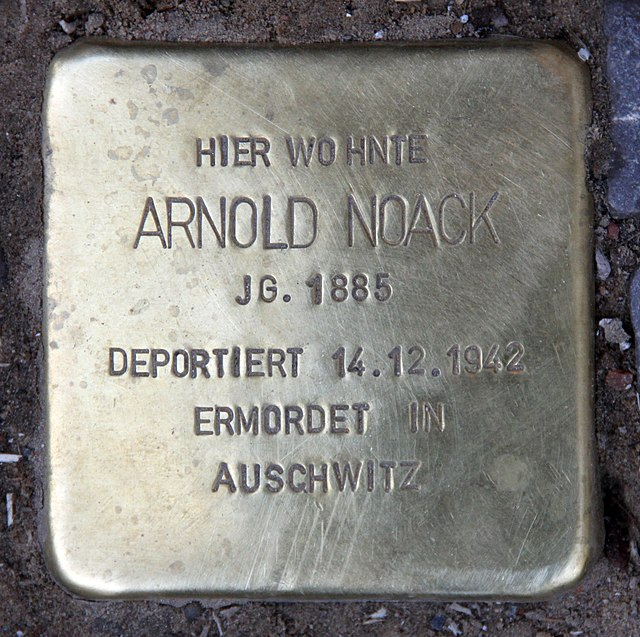 Photo of Arnold Noack brass plaque