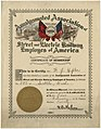 Street and Electric Railway Employees membership certificate, February 1, 1920 (MOHAI 11931).jpg