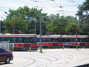 Toronto streetcar system rolling stock - Toronto streetcars stored in Russell Carhouse.