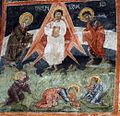 Sts. Theodore Tyron & Theodore Stratelates in Dobarsko Transfiguration Fresco.jpg