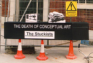 "Neo-conceptual art - Stuckists' ""Death of Conceptual Art"" coffin demonstration, 2002"