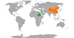Map indicating locations of Sudan and China