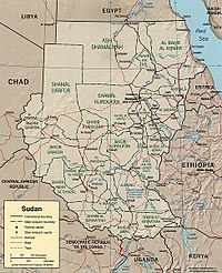 Political map of Sudan.