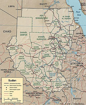 Second Sudanese Civil War - Map of Sudan at the time of the civil war.