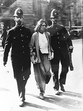 Suffragette organizations campaigned for women's right to vote. Suffragette arrest, London, 1914.jpg
