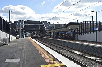 Sunshine railway station, Melbourne - Westbound view from Platform 2 in May 2014