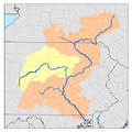 Susquehanna River watershed map with West Branch Susquehanna River watershed highlighted.png