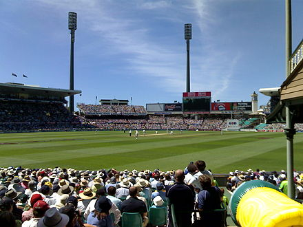 Shane Warne is pictured bowling one of his last balls in Test cricket Sydney Cricket Ground, Warne final balls, 2007.jpg