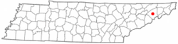 Location of Greeneville, Tennessee