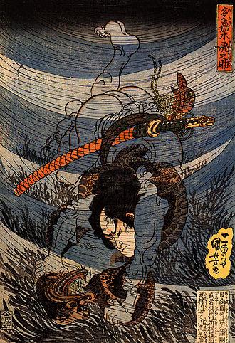Kappa (folklore) - Capturing a kappa alive. Utagawa Kuniyoshi