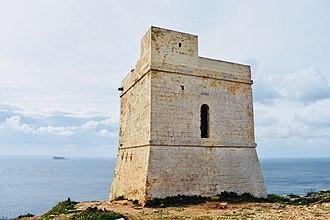 Ħamrija Tower - Ħamrija Tower with Filfla in the background