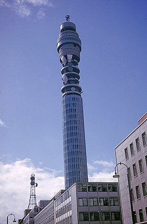 Post Office Telecommunications - The Post Office Tower, 1966 (shortly after construction).