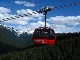 Peak 2 Peak Gondola Ski lift connecting two ski resorts in British Columbia, Canada