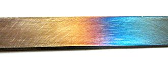 Tempering (metallurgy) - Image: Tempering colors in steel