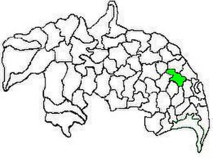 Tenali mandal - Mandal map of Guntur district showing   Tenali mandal (in green)