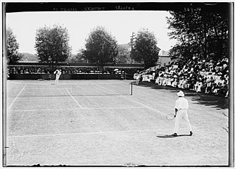 1909 U.S. National Championships (tennis) - Tennis players on Newport Casino Court (20 Aug 1909)