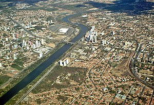 Teresina - Aerial view of the city, with the Poti River through the city.