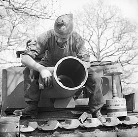 The 29cm Petard spigot mortar on a Churchill AVRE of 79th Squadron, 5th Assault Regiment, Royal Engineers, under command of 3rd Infantry Division, 29 April 1944. A 40lb bomb can be seen on the right. H38001