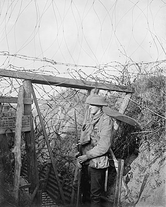 46th (North Midland) Division - A barbed wire gate in a trench system to form a block against raiders at Cambrin in trenches held by the 1/7th Battalion, Sherwood Foresters (Nottinghamshire and Derbyshire Regiment), 16 September 1917.
