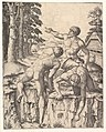 The Climbers- three naked men, one seen from behind climbing onto a river-bank, soldiers emerge from the forest in the background MET DP820576.jpg