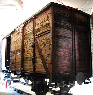 History of the Jews in the Republic of Macedonia - Original wagon used for transport of the Macedonian Jews - on display at the Holocaust Museum in Skopje, Republic of Macedonia.
