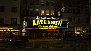 Late Show (CBS TV series) - The Late Show Ed Sullivan Theater featuring Letterman marquee, which was removed on May 28, 2015.