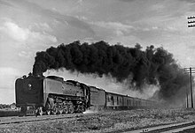Union Pacific 844 hauling the Pony Express in 1949.