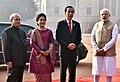 The President, Shri Pranab Mukherjee and the Prime Minister, Shri Narendra Modi with the President of Indonesia, Mr. Joko Widodo at the ceremonial welcome, at Rashtrapati Bhavan, in New Delhi on December 12, 2016.jpg
